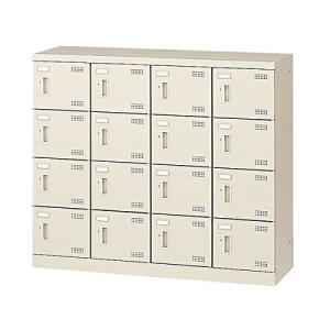 生興   SLBシューズボックス シリンダー錠取っ手 ニューグレー色 4列4段16人用 W1100×D350×H945 SLB-M416|offic-one