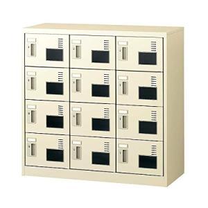 生興   SLCシューズボックス 窓付きタイプ  内筒交換錠取っ手 ニューグレー色 3列4段12人用 W900×D380×H880 SLC-M|offic-one
