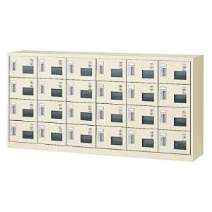 生興   SLCシューズボックス 窓付きタイプ  内筒交換錠取っ手 ニューグレー色 6列4段24人用 W1755×D380×H880 SLC- offic-one