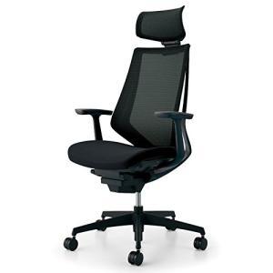 コクヨ  配送・組立・設置込    オフィスチェア デュオラ CR-G3005E6KZB6-V ヘッドレスト付 T型肘 ブラック樹脂脚 ブラッ|offic-one