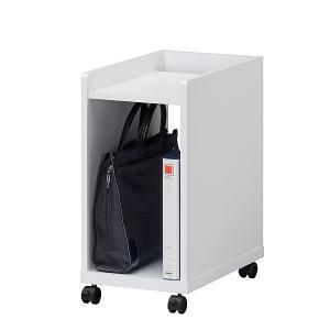 デスクワゴン オフィスワゴン キャスター デスクサイド オープン デスク下ワゴン バッグ カバン パソコン 足元に収納 ホワイト 白 木製|office-arrows