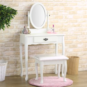 ドレッサー 姫系 椅子付き アンティーク 木製 ホワイト 白 化粧台 鏡台 ドレッサー ミラー 引出し プリンセス お姫様 おしゃれ 北欧 カントリー かわいい office-arrows