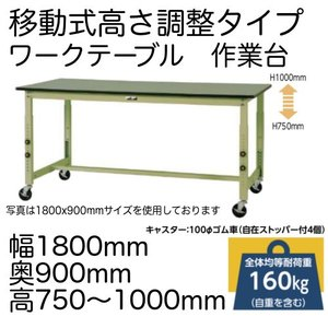 作業台 テーブル  ワークテーブル ワークベンチ 180cm 90cm 高さ調整タイプ移動式 75c...
