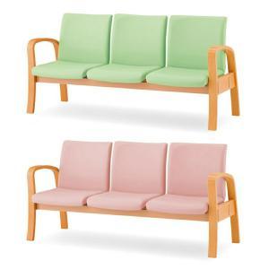 ロビーチェア ロビーベンチ 待合椅子 3人用 背あり W1640 D645 H780 SH410-380 ビニールレザー張り Y-MTC-300-V office-kagg