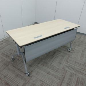 オカムラ インターアクトNTシリーズ サイドフォールドテーブル 配線孔有り 棚板付き 幕板付き|office-kagu-tops