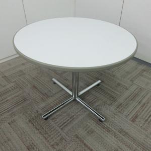 オカムラ 円形テーブル 8176シリーズ 天板ホワイト 1本脚 床面4つまた|office-kagu-tops