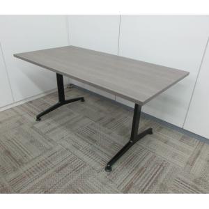 コクヨ 会議テーブル  JUTOシリーズ T字脚ブラック スクエアエッジ 天板アッシュブラウン|office-kagu-tops