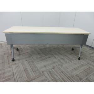 オカムラ ネスティアシリーズ 1860サイドフォールドテーブル 棚無 幕板付 ライトプレーン|office-kagu-tops
