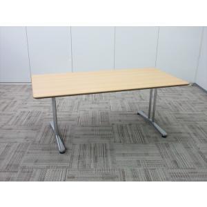 オカムラ 会議用 インターレイス 会議テーブル 配線孔なし ペアウッドライト|office-kagu-tops