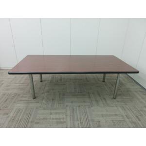 会議用 ミーティングテーブル 4本脚 天板木目調 会議テーブルおしゃれ|office-kagu-tops