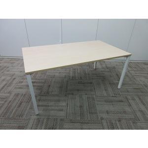 内田洋行 会議テーブル  4本脚ホワイト 天板ネオウッドライト調|office-kagu-tops