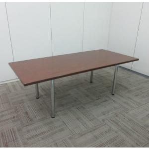 イトーキ 会議テーブル  4本脚丸型 天板ブラウン|office-kagu-tops