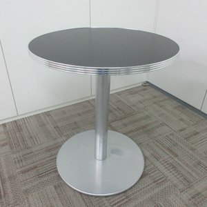 特価 円形ハイテーブル 天板ブラック 1本脚 床面円形タイプ|office-kagu-tops