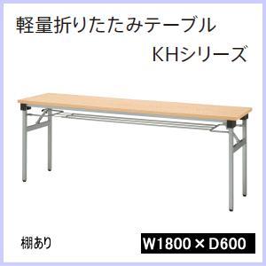 ウチダ 軽量折りたたみテーブルKHシリーズ 棚付き W1800×D450×H700ミリ 6-171-305□ 【送料無料】|office