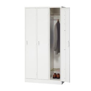 ホワイト スチールロッカー 鍵付き 3人用 / OC-LK3WH