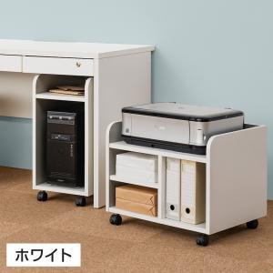 ペスパ 木製CPUワゴン OAワゴン パソコンスタンド キャスター付き ホワイト×グレー|officecom|04