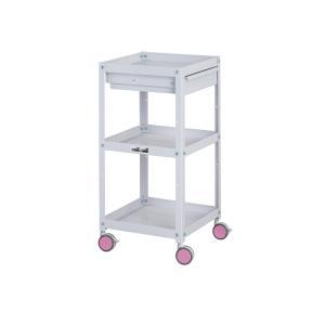 山金工業 色彩-irodori-ワゴン キャビネット付3段 CWCLC-3 幅400×奥行400×高...