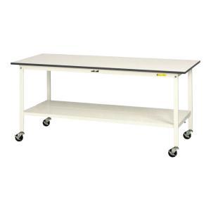 山金工業 ワークテーブル 150シリーズ 移動式 全面棚板付 SUPC-975TT-WW 幅900×...