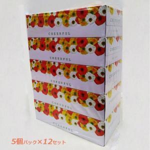 エイトワン チアフル BOXティシュ 5P 300枚(150組) 5箱パック×12セット 計60箱|officeland