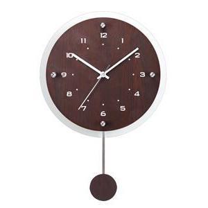 ノア精密 振り子付電波掛時計 インテリアクロック アンティール 壁掛時計:ブラウン W-473 BR|officeland