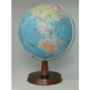 昭和カートン(三貴工業) SHOWAGLOBES 絵入りひらがな地球儀 26cm 26-HAW-K 日本製 木製台座 プレゼントに最適な化粧箱入り|officeland