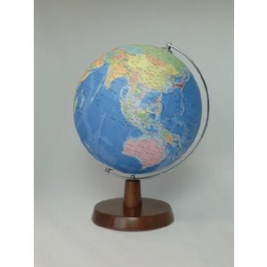 昭和カートン(三貴工業) SHOWAGLOBES 行政図タイプ地球儀 21cm 21-GAW-K 日本製 木製台座 プレゼントに最適な化粧箱入り|officeland