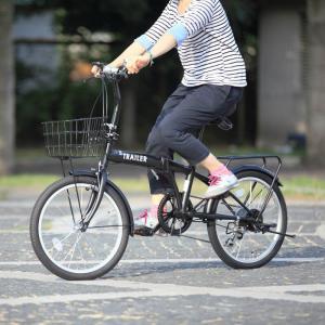 HANWA(阪和) 20インチ カラフル折りたたみ自転車 6段変速 カゴ/カギ/ライト付 TRAILER(トレイラー) BGC-F20-BK ブラック officeland