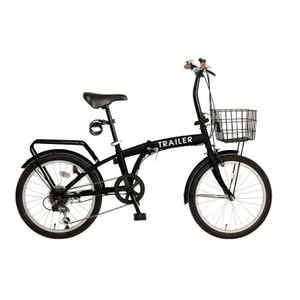 HANWA(阪和) 20インチ カラフル折りたたみ自転車 6段変速 カゴ/カギ/ライト付 TRAILER(トレイラー) BGC-F20-BK ブラック officeland 02