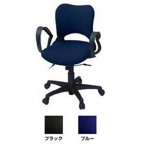 【プラス】オーバル(ローバック) 肘付 オフィスチェア ブラック 697-049|officemarket