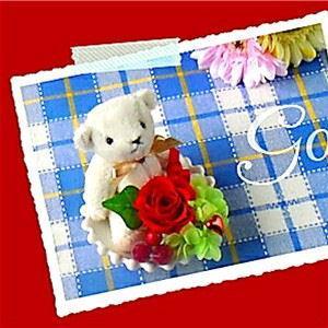 プリザーブドフラワー「バースデーローズベア 1月ガーネット」誕生日プレゼント くま あすつく 記念日 ホワイトデー 母の日 父の日 敬老の日 クリスマス offrir