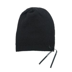 JULIUS(ユリウス)-CA-COTTON MERCERIZED CORD YARN STRAP BEANIE/BLK|offside