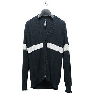 wjk(ダブルジェイケイ)-CK-cotton linen cardigan・black x gr|offside