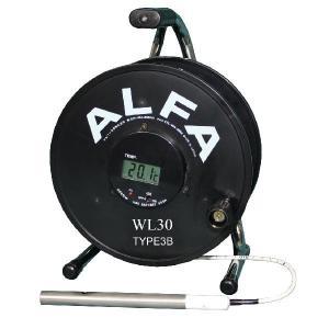 ロープ式水位計 30m Bセンサー ブザー赤色ランプ温度計付:WL30-TYPE3B|offsite