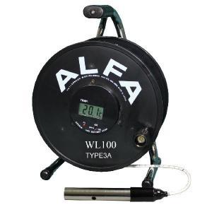 ロープ式水位計 100m Aセンサー ブザー赤色ランプ温度計付:WL100-TYPE3A|offsite