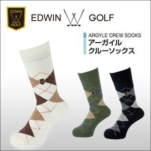 【DM便対応】 EDWIN GOLF(エドウィンゴルフ) アーガイルクルーソックス SRM|ogawagolf