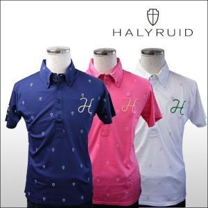 ハリールイド(HALYRUID) 半袖 ボタンダウンドットプリント ポロシャツ ogawagolf