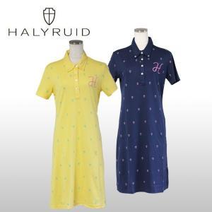 ハリールイド(HALYRUID) ロゴ総柄 半袖ポロワンピース レディース|ogawagolf