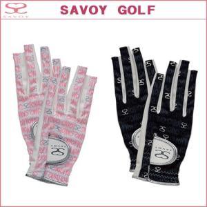 【DM便対応】 SAVOY (サボイ)  SAVOY レディースグローブ 指先オープン GLL7002 SAVOY GOLF サボイゴルフ ダイヤ SRM|ogawagolf