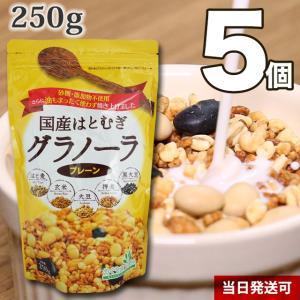 小川生薬めぐりあう恵み 国産はとむぎグラノーラ(プレーン) 5個セット 250g|ogawasyouyaku