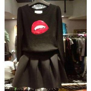 売り尽くし!特価!セール【セーター&スカートの2点セット】【送料無料】3D立体デザイン ニット ブラック 長袖 カットソー トップス レディース|ogiya