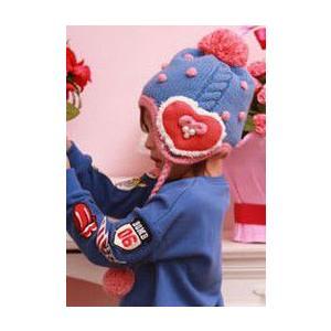 売りつくし!特価!セール!【送料無料】裏ボア生地 帽子 キッズ 子供 ベビー 赤ちゃん ニット帽 冬暖か ポンポン ハート 女の子|ogiya