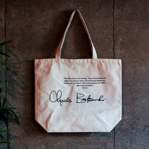 チャールズ・ブコウスキー トートバッグ大 (20L) 「チナスキー」「sign」Charles Bukowski パンク文学 チャールズブコウスキー oguoy