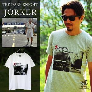 名シーンを組み合わせたブラックユーモア満載のJORKER Tシャツ。 ヒースのアドリブが有名な、ナー...