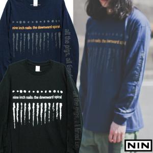 NINE INCH NAILS 「THE DOWNWARD SPIRAL 」「ナインインチネイルズ」 「ザ ダウンワード スパイラル」袖プリント ロンT  長袖Tシャツ バンドTシャツ|oguoy
