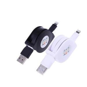 送料無料 スマホ iPhone 充電コード 充電ケーブル 巻き取り式 フラット ケーブル 1m 携帯用|ogurakomu