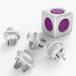 【11月出荷予定】コンセント PowerCube キューブ型 パープル USBポートなし コンパクト reddot award2014 電源タップ パワーキューブ 正規品|ogurakomu