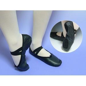 バレエシューズ 全革 スプリットソール ダンス 20.0-25.5cm ブラック バレエ用品(ゆうパケット選択可)|ohana|02