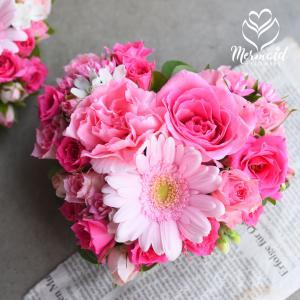 生花 花 ギフト お祝い 可愛い ハート 型 フラワーケーキ アレンジ 結婚記念日 花 お祝い 記念日 プレゼン ト 成人祝い 愛妻の日|ohanakakumei