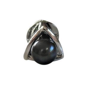 あこや 本真珠 パール SV タイピン タイタック 40 ブラックグリーン 7.0-7.5mm スーツ ネクタイ ワイシャツ ビジネス フォーマル 冠婚葬祭 ohashi-pearl