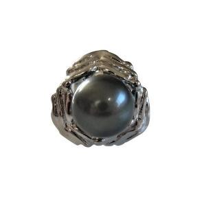 あこや 本真珠 パール SV タイピン タイタック 41 ブラックグリーン 8.0-8.5mm スーツ ネクタイ ワイシャツ ビジネス フォーマル 冠婚葬祭 ohashi-pearl
